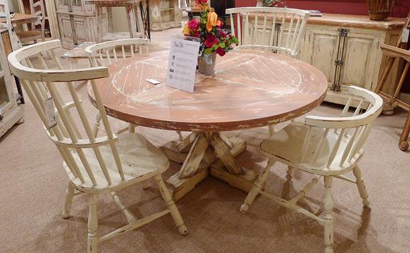 原装进口英式做旧圆餐桌
