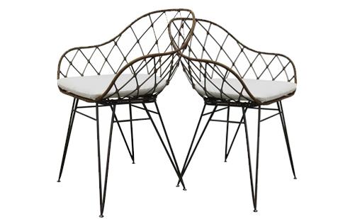 原装进口金属铁线复古休闲椅