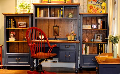 美式乡村书桌实木组合书桌家用书桌组合书架