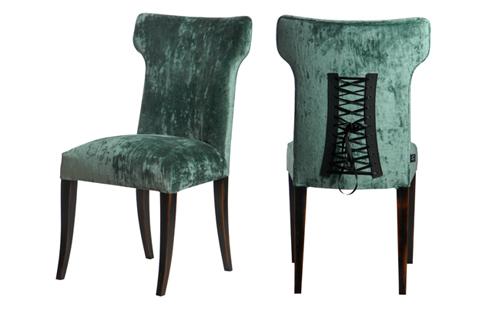 简约现代美式布艺餐椅进口蓝色绒布靠背椅咖啡椅