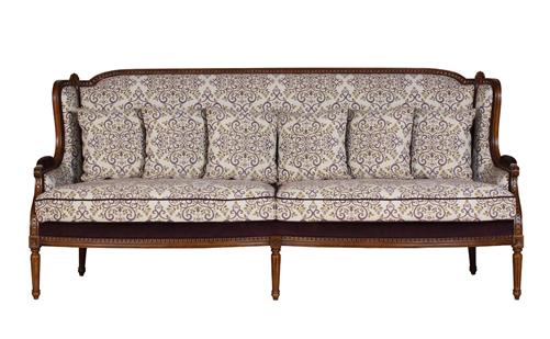 进口法式实木布艺三人沙发