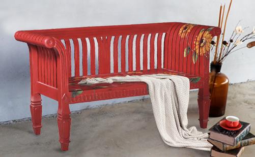 原装进口美式做旧实木双人长靠椅
