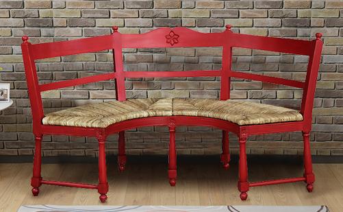 原装进口美式做旧实木弧形长靠椅